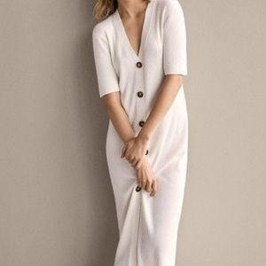 Massimo Dutti - Ribbed Dress with Belt - Size SM